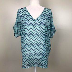 ANNABELLA Chevron V Neck Short Sleeve Blouse